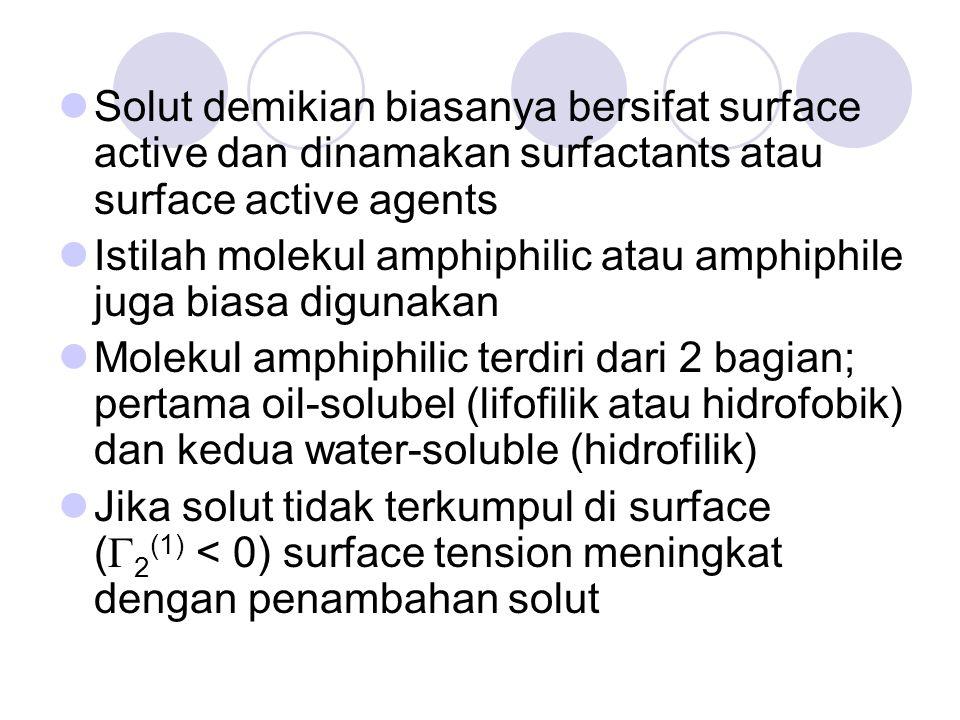 Solut demikian biasanya bersifat surface active dan dinamakan surfactants atau surface active agents Istilah molekul amphiphilic atau amphiphile juga