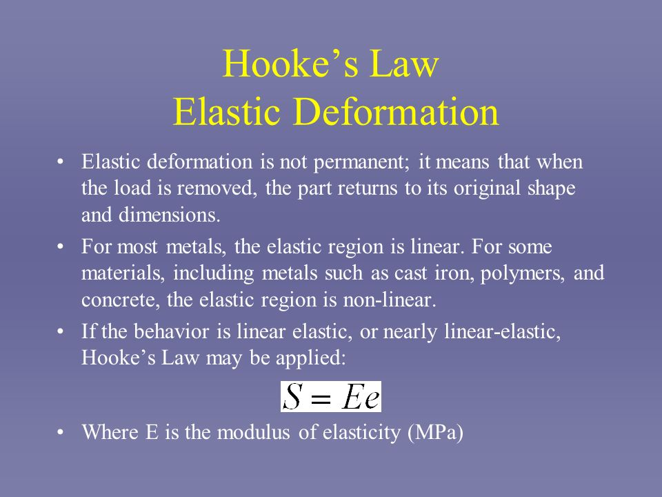 Hookes Law Elastic Deformation Elastic deformation is not permanent; it means that when the load is removed, the part returns to its original shape an