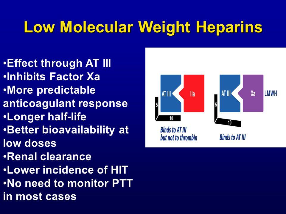 Low Molecular Weight Heparins Effect through AT III Inhibits Factor Xa More predictable anticoagulant response Longer half-life Better bioavailability