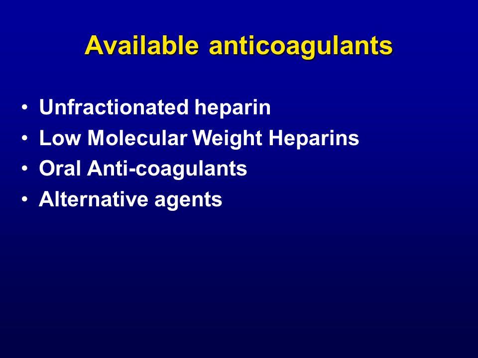 Available anticoagulants Unfractionated heparin Low Molecular Weight Heparins Oral Anti-coagulants Alternative agents