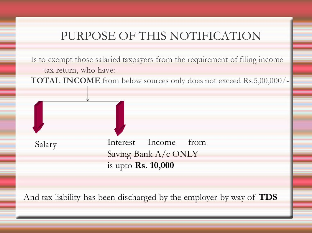 PURPOSE OF THIS NOTIFICATION Is to exempt those salaried taxpayers from the requirement of filing income tax return, who have:- TOTAL INCOME from below sources only does not exceed Rs.5,00,000/- Salary Interest Income from Saving Bank A/c ONLY is upto Rs.