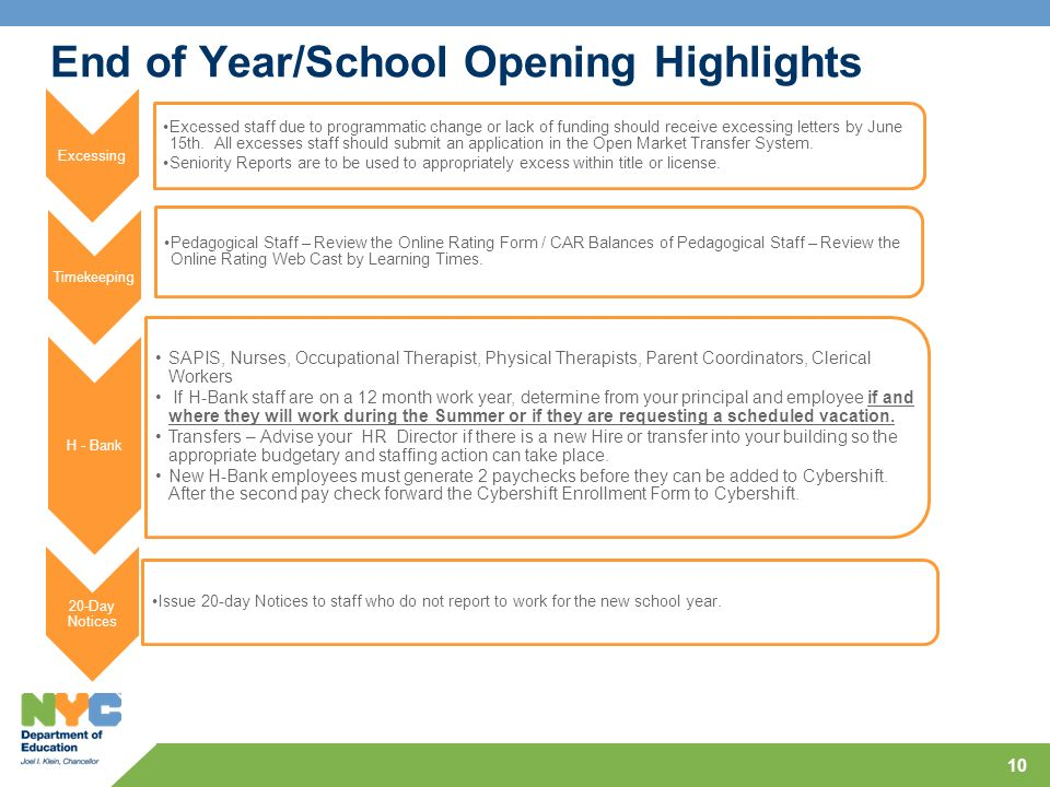 End of Year/School Opening Highlights Excessing Excessed staff due to programmatic change or lack of funding should receive excessing letters by June