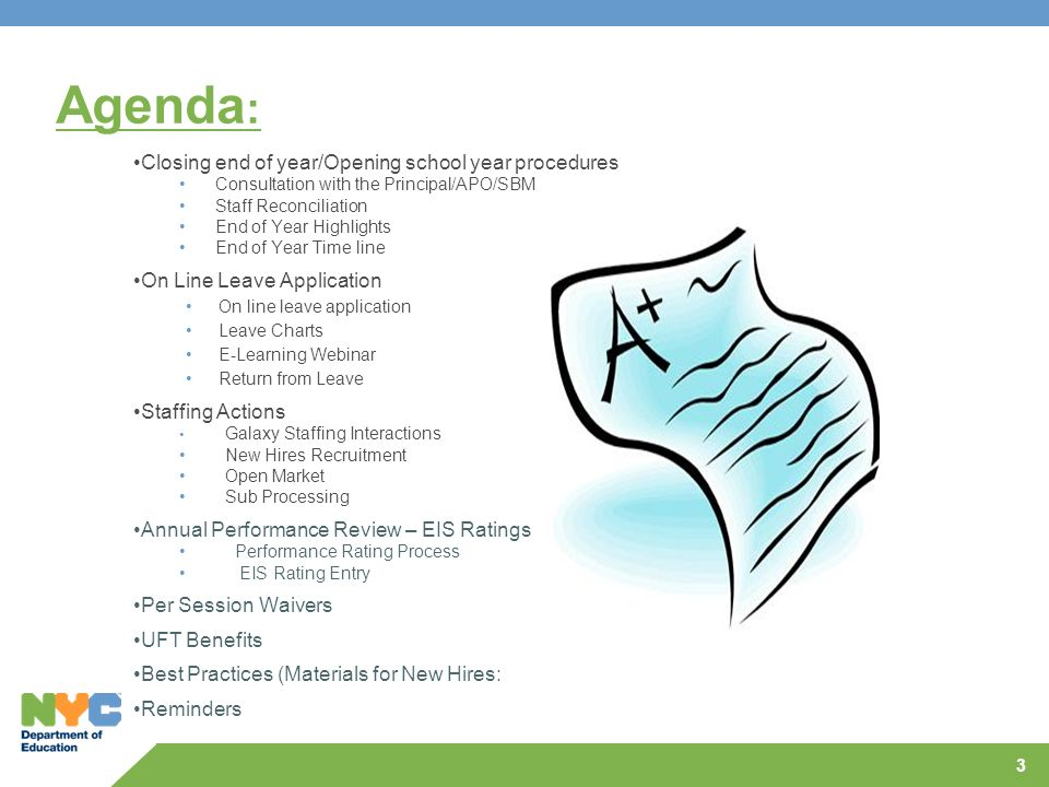 3 Agenda : Closing end of year/Opening school year procedures Consultation with the Principal/APO/SBM Staff Reconciliation End of Year Highlights End
