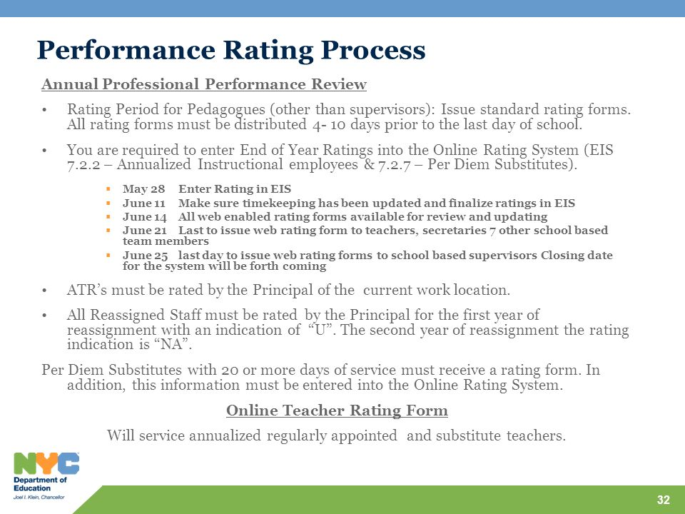 Performance Rating Process Annual Professional Performance Review Rating Period for Pedagogues (other than supervisors): Issue standard rating forms.