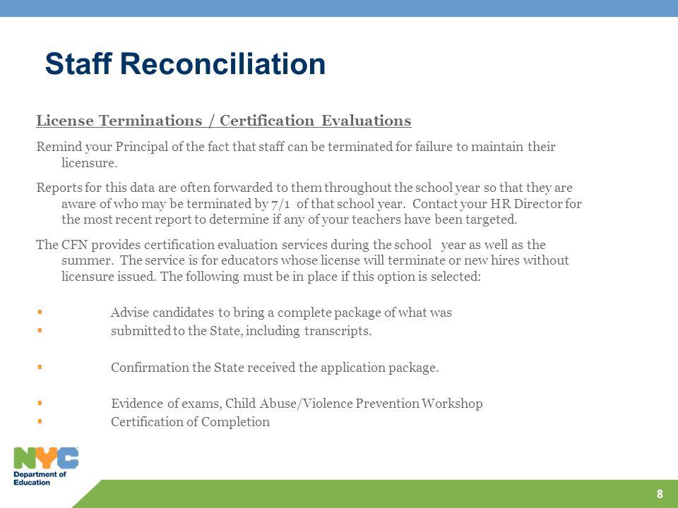 Staff Reconciliation H Bank Staff – SAPIS, Nurses, Occupational Therapist, Physical Therapists, Parent Coordinators.