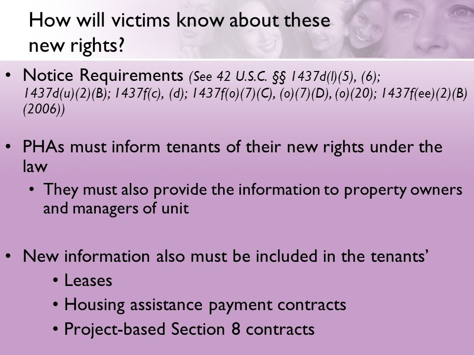 How will victims know about these new rights. Notice Requirements (See 42 U.S.C.