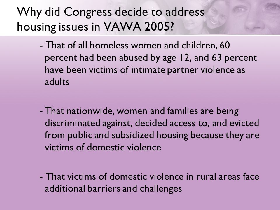 Why did Congress decide to address housing issues in VAWA 2005.