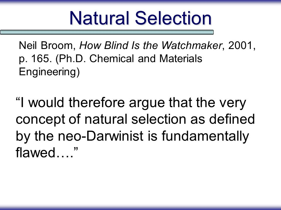 Natural Selection I would therefore argue that the very concept of natural selection as defined by the neo-Darwinist is fundamentally flawed…. Neil Br
