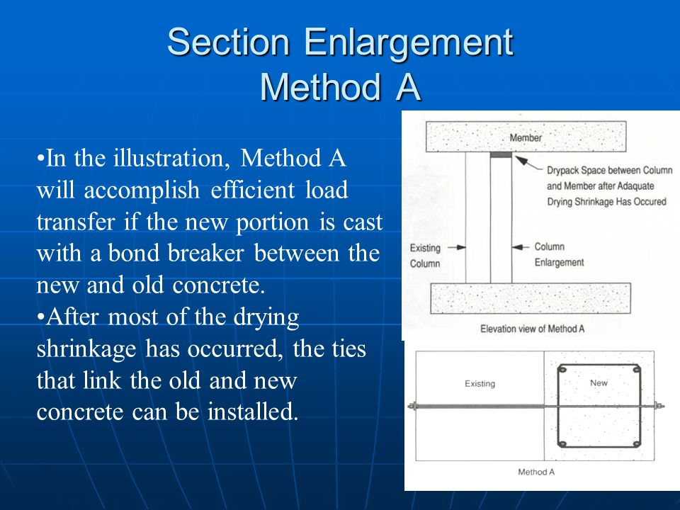 Section Enlargement Method A In the illustration, Method A will accomplish efficient load transfer if the new portion is cast with a bond breaker betw