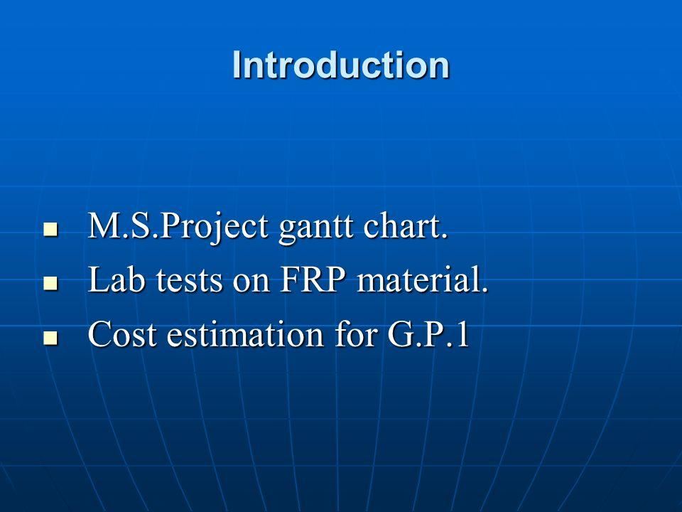 Introduction M.S.Project gantt chart. M.S.Project gantt chart. Lab tests on FRP material. Lab tests on FRP material. Cost estimation for G.P.1 Cost es