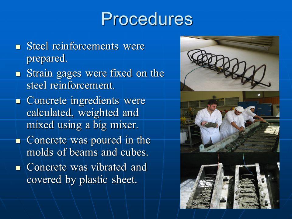 Procedures Steel reinforcements were prepared. Steel reinforcements were prepared. Strain gages were fixed on the steel reinforcement. Strain gages we