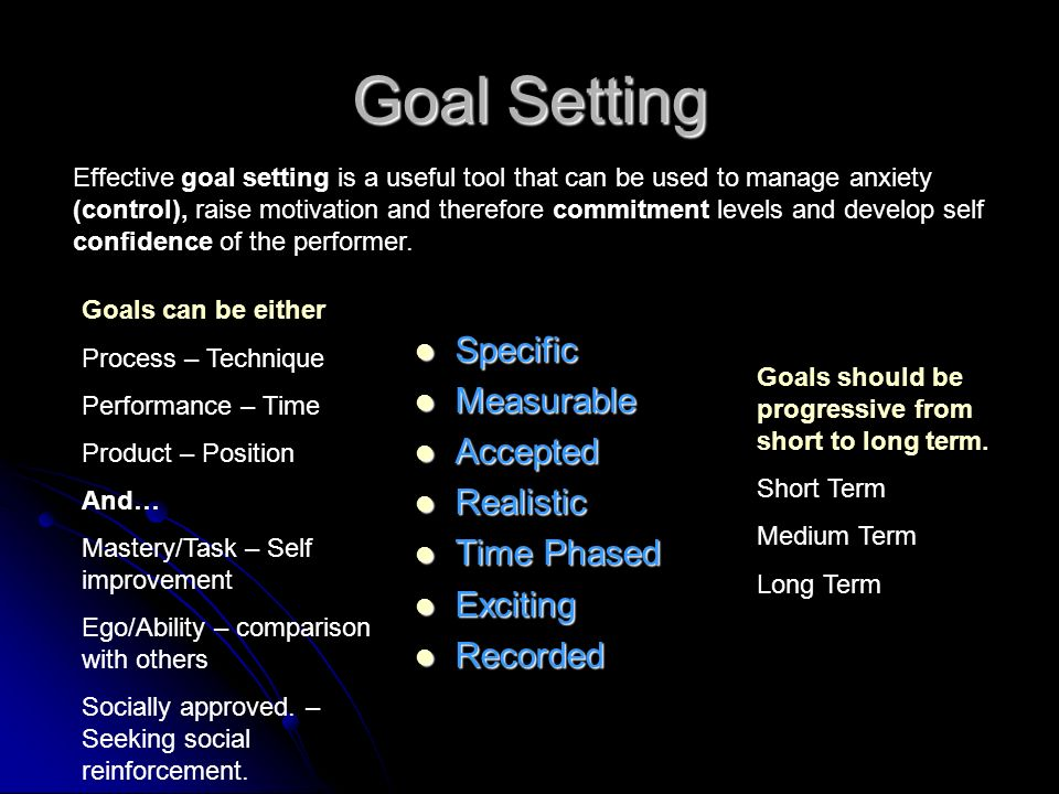 Goal Setting Specific Specific Measurable Measurable Accepted Accepted Realistic Realistic Time Phased Time Phased Exciting Exciting Recorded Recorded