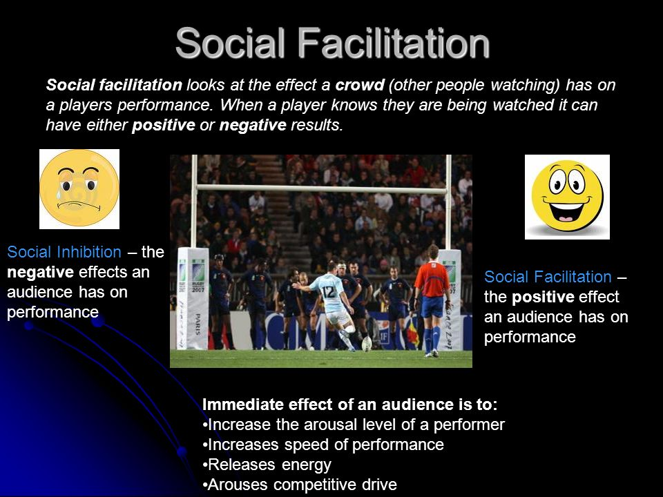 Social Facilitation Social Facilitation – the positive effect an audience has on performance Immediate effect of an audience is to: Increase the arous