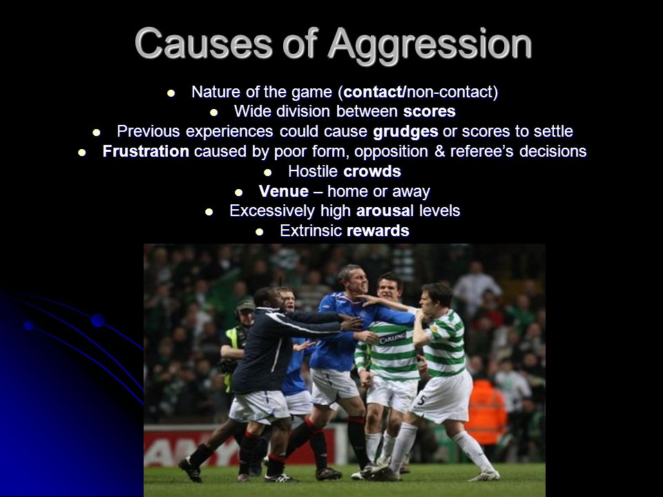 Causes of Aggression Nature of the game (contact/non-contact) Nature of the game (contact/non-contact) Wide division between scores Wide division betw