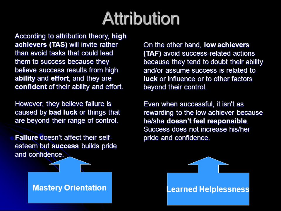 AttributionAccording to attribution theory, high achievers (TAS) will invite rather than avoid tasks that could lead them to success because they beli