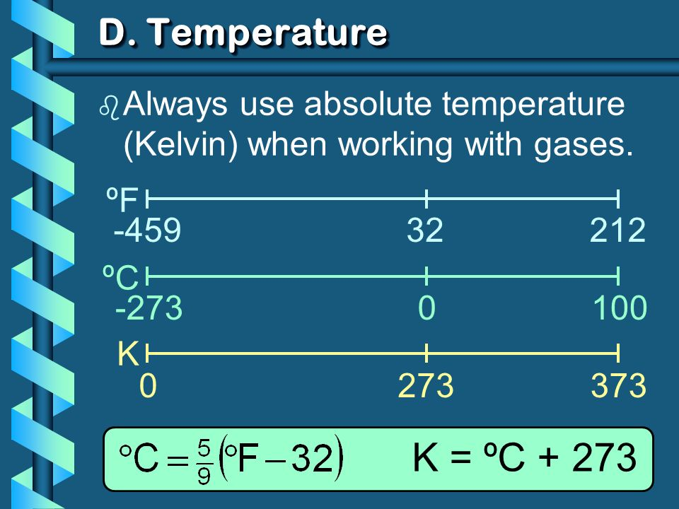 D. Temperature ºF ºC K -45932212 -2730100 0273373 K = ºC + 273 b Always use absolute temperature (Kelvin) when working with gases.