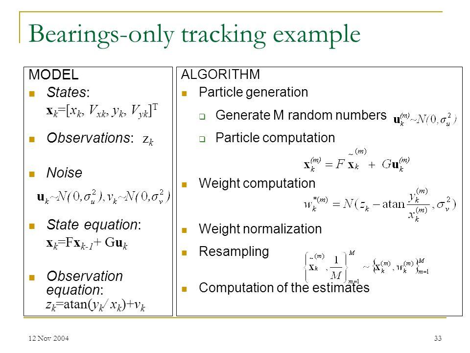 12 Nov 200433 Bearings-only tracking example MODEL States: x k =[x k, V xk, y k, V yk ] T Observations: z k Noise State equation: x k =Fx k-1 + Gu k O