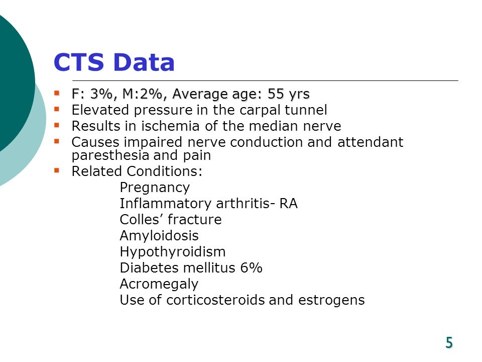 5 CTS Data F: 3%, M:2%, Average age: 55 yrs F: 3%, M:2%, Average age: 55 yrs Elevated pressure in the carpal tunnel Results in ischemia of the median