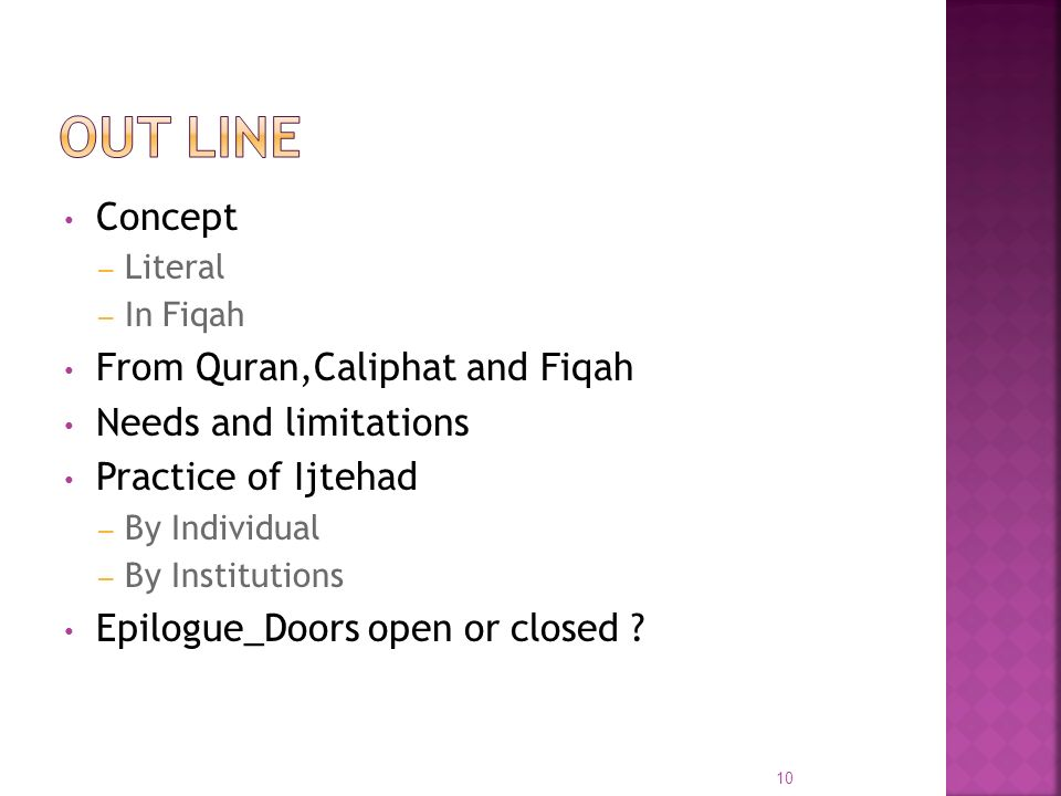 Concept – Literal – In Fiqah From Quran,Caliphat and Fiqah Needs and limitations Practice of Ijtehad – By Individual – By Institutions Epilogue_Doors