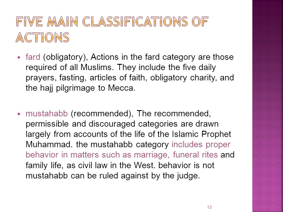 fard (obligatory), Actions in the fard category are those required of all Muslims. They include the five daily prayers, fasting, articles of faith, ob
