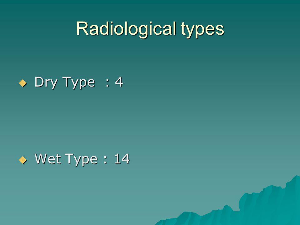 Radiological types Dry Type : 4 Dry Type : 4 Wet Type : 14 Wet Type : 14