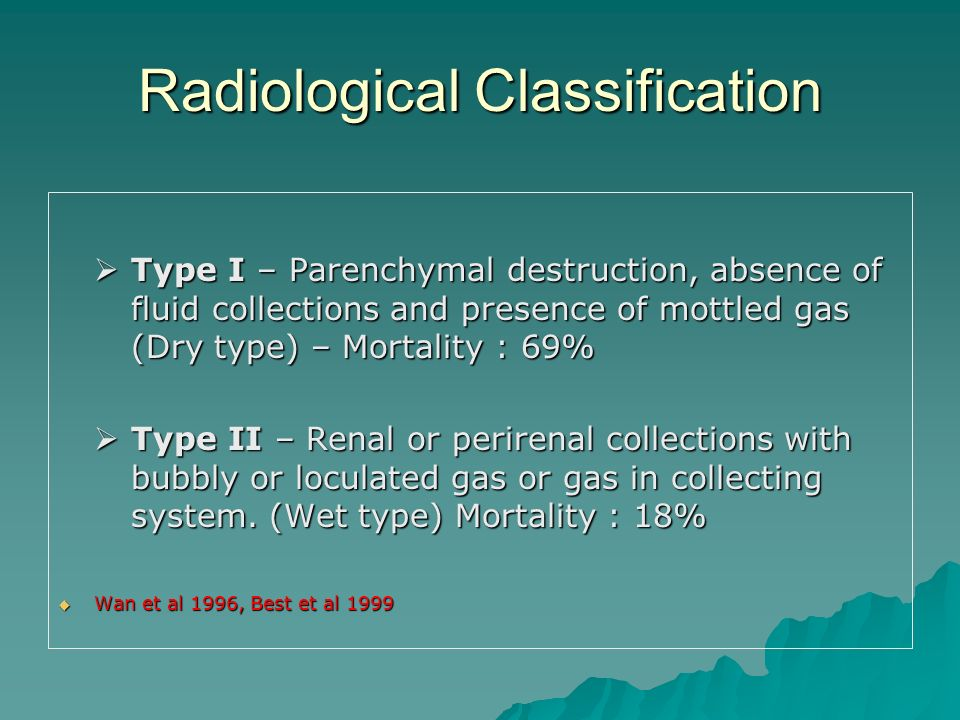 Radiological Classification Type I – Parenchymal destruction, absence of fluid collections and presence of mottled gas (Dry type) – Mortality : 69% Ty