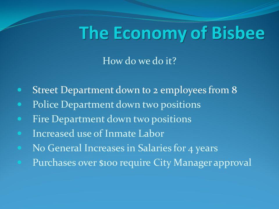 The Economy of Bisbee How do we do it.