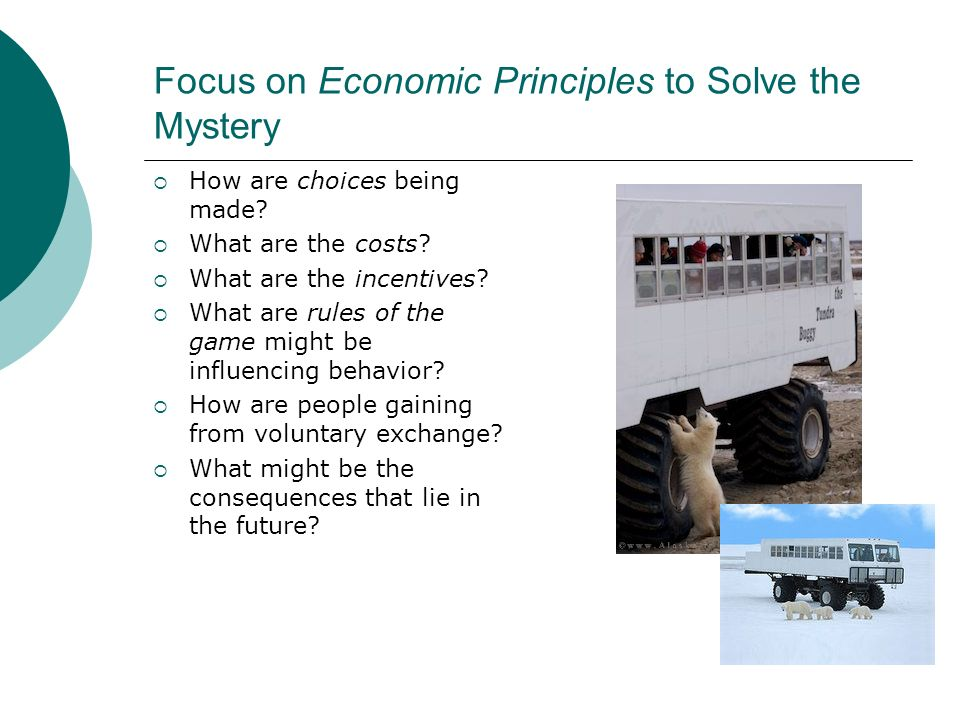 Focus on Economic Principles to Solve the Mystery How are choices being made.