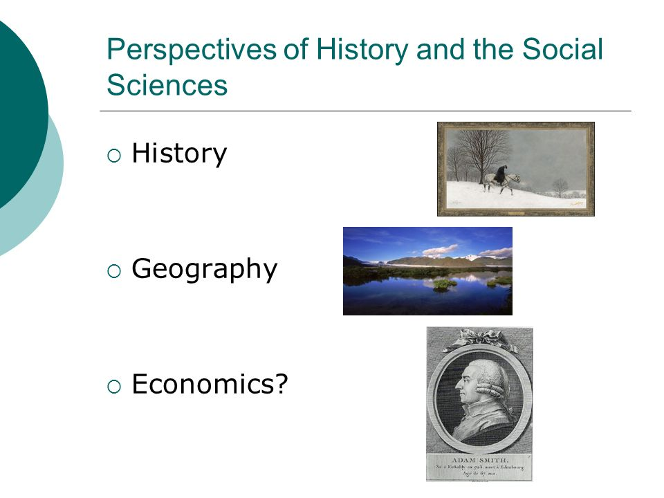 Perspectives of History and the Social Sciences History Geography Economics?