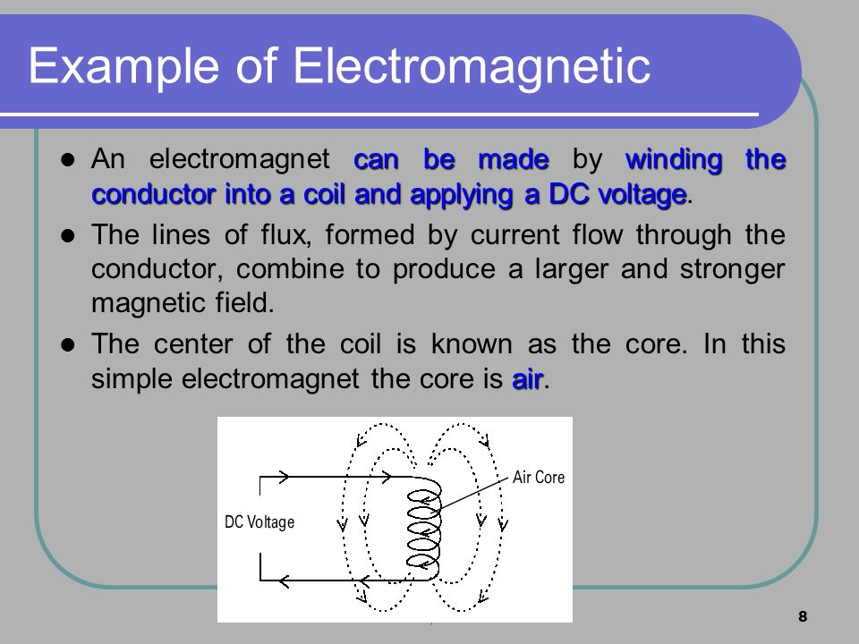 MZS FKEE, UMP8 Example of Electromagnetic can be madewinding the conductor into a coil and applying a DC voltage An electromagnet can be made by windi