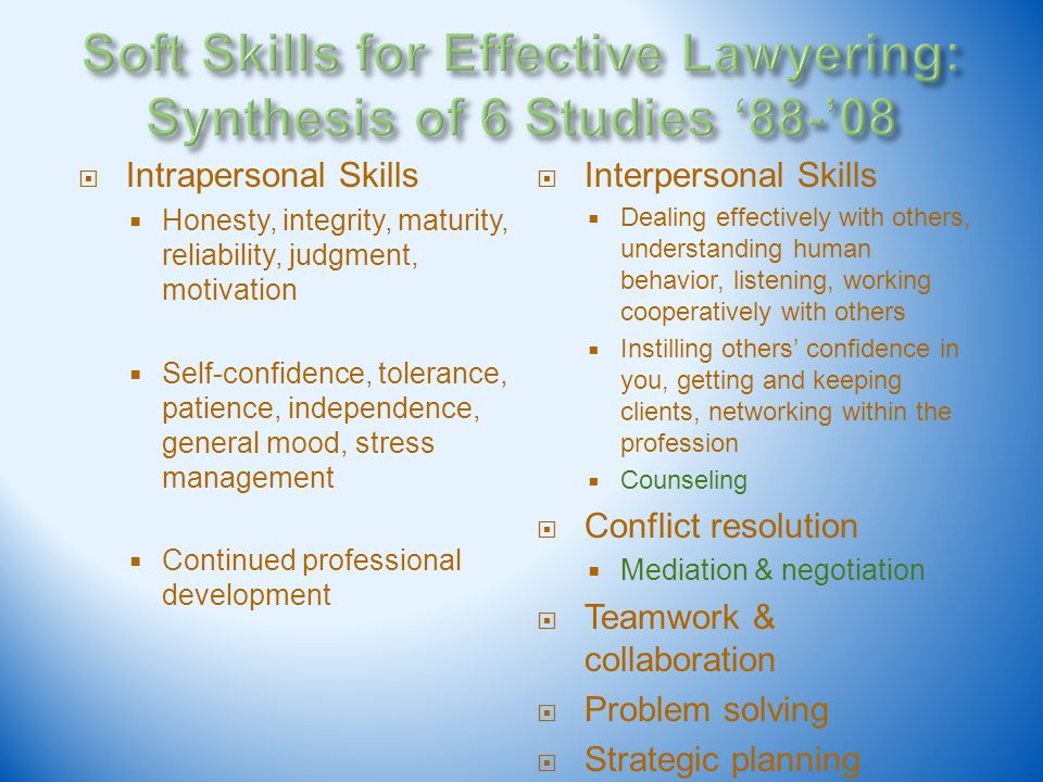 Intrapersonal Skills Honesty, integrity, maturity, reliability, judgment, motivation Self-confidence, tolerance, patience, independence, general mood,