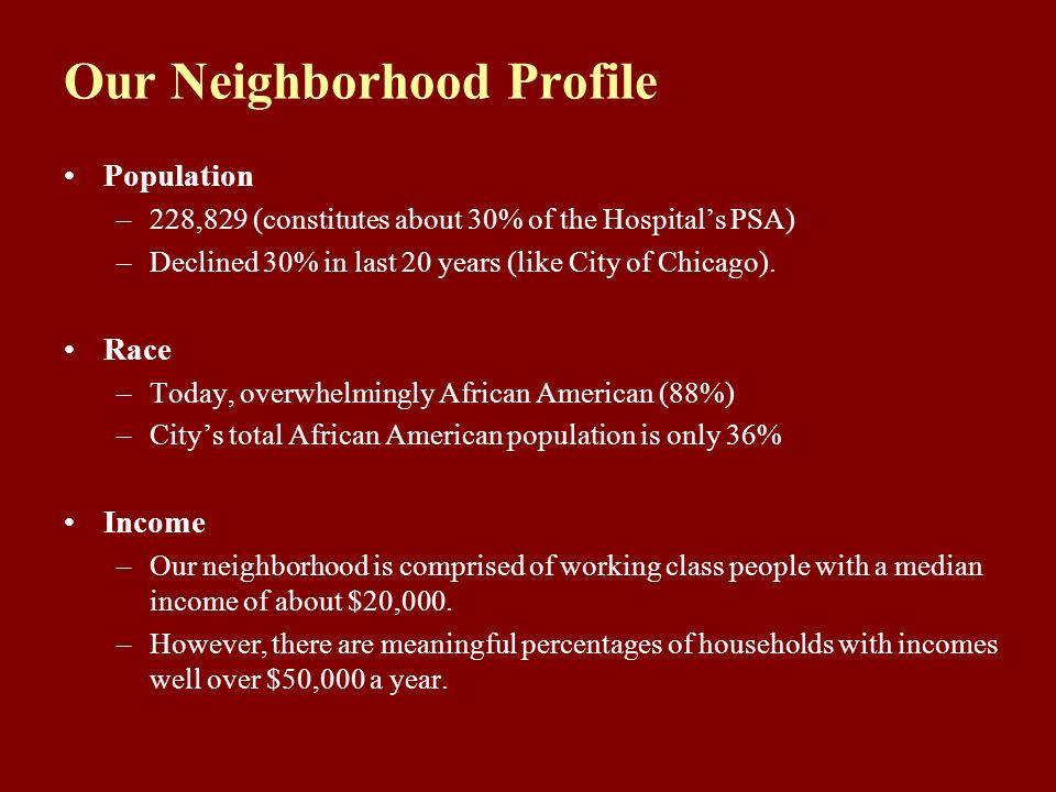 Our Neighborhood Profile Population –228,829 (constitutes about 30% of the Hospitals PSA) –Declined 30% in last 20 years (like City of Chicago).