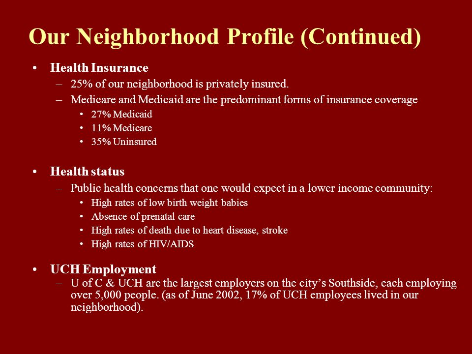 Our Neighborhood Profile (Continued) Health Insurance –25% of our neighborhood is privately insured. –Medicare and Medicaid are the predominant forms