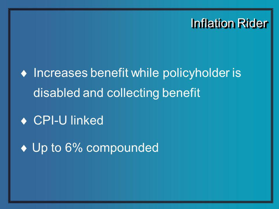 Increases benefit while policyholder is disabled and collecting benefit CPI-U linked Up to 6% compounded