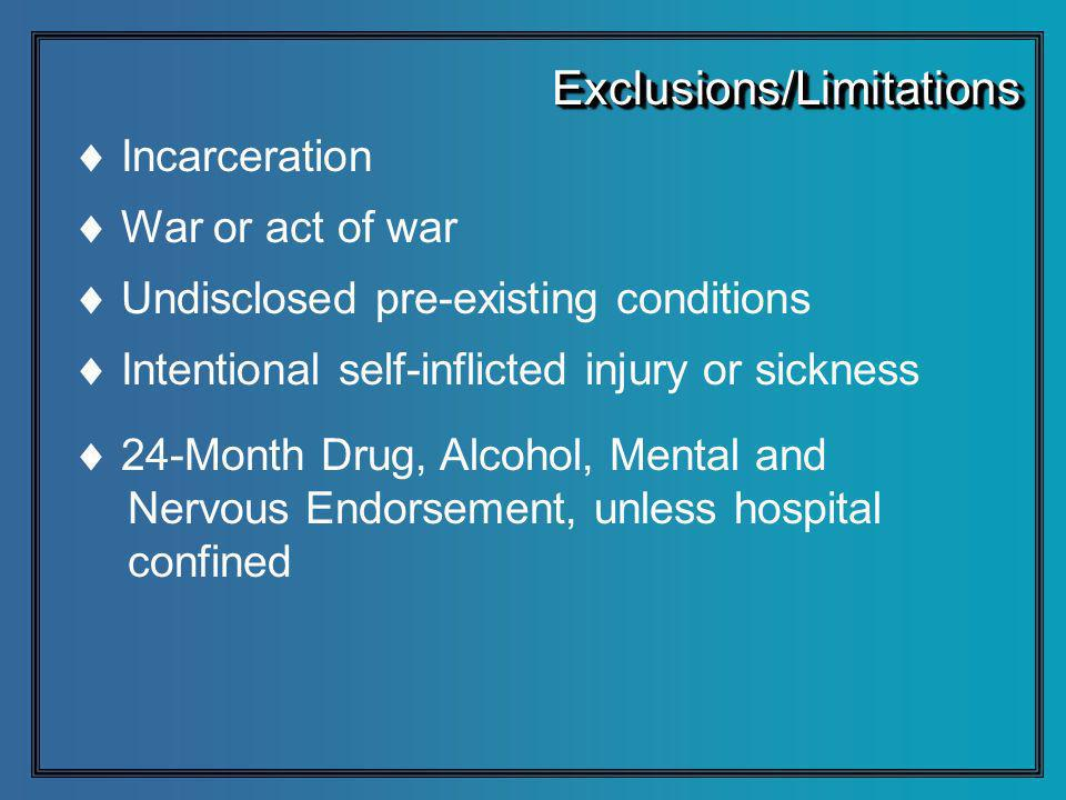 Incarceration War or act of war Undisclosed pre-existing conditions Intentional self-inflicted injury or sickness 24-Month Drug, Alcohol, Mental and Nervous Endorsement, unless hospital confined Exclusions/LimitationsExclusions/Limitations