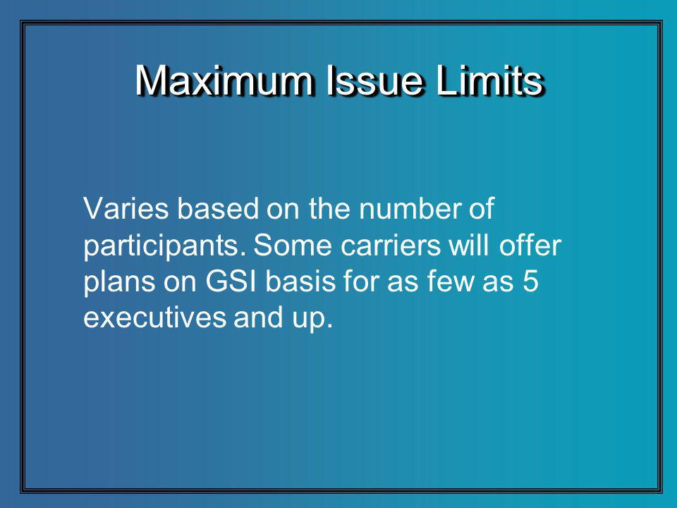 Maximum Issue Limits Varies based on the number of participants.