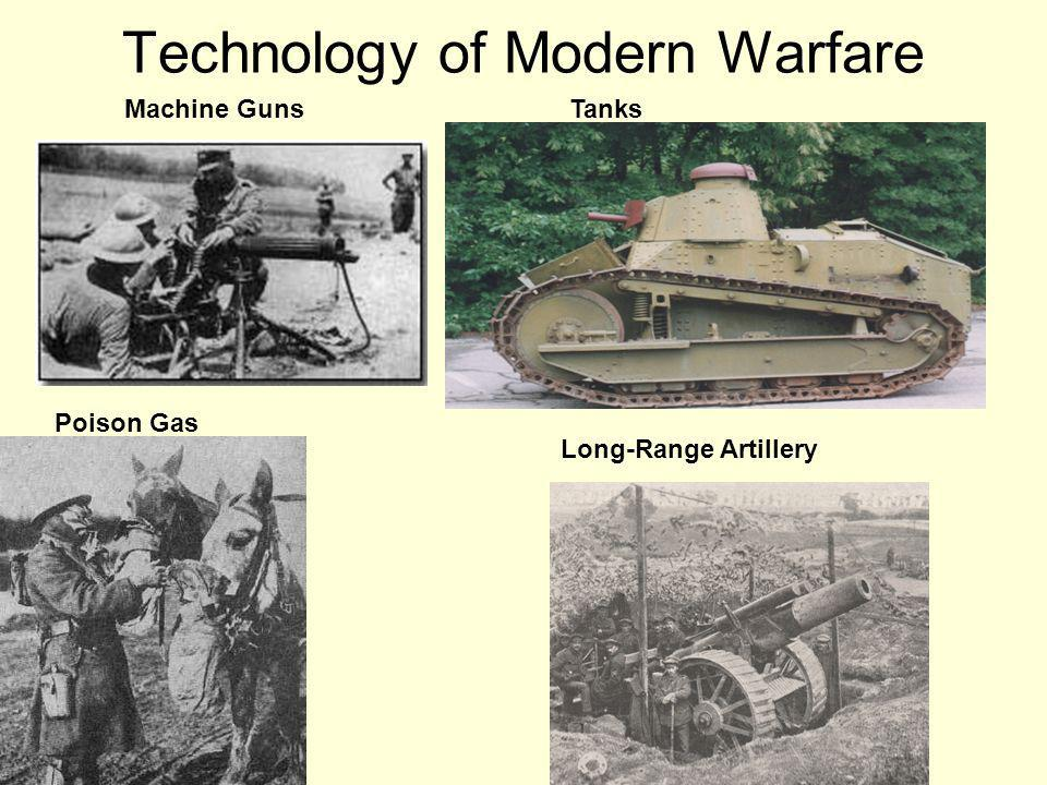 Technology of Modern Warfare Machine Guns Long-Range Artillery Poison Gas Tanks