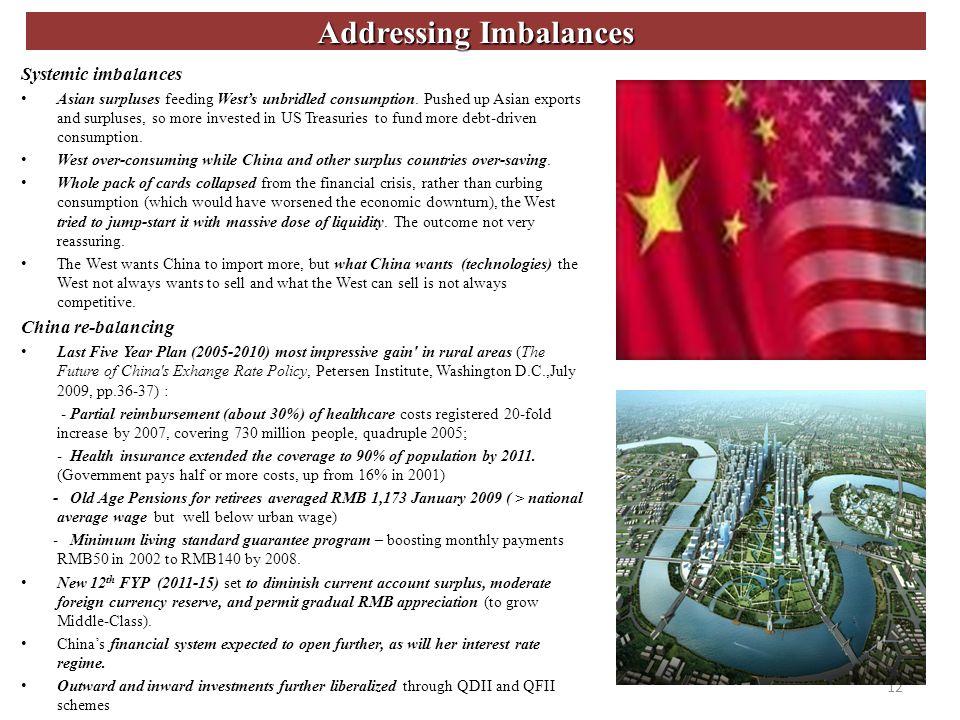 Addressing Imbalances Systemic imbalances Asian surpluses feeding Wests unbridled consumption.