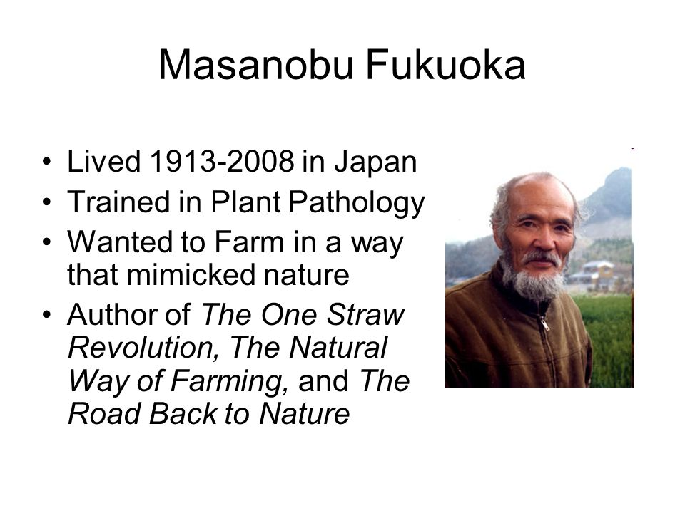 Masanobu Fukuoka Lived 1913-2008 in Japan Trained in Plant Pathology Wanted to Farm in a way that mimicked nature Author of The One Straw Revolution,