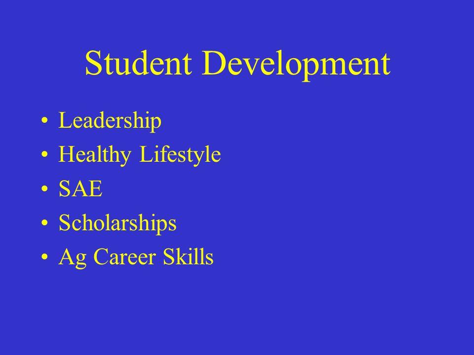 Student Development Leadership Healthy Lifestyle SAE Scholarships Ag Career Skills