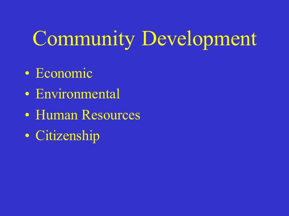 Community Development Economic Environmental Human Resources Citizenship