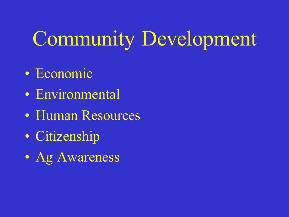 Community Development Economic Environmental Human Resources Citizenship Ag Awareness