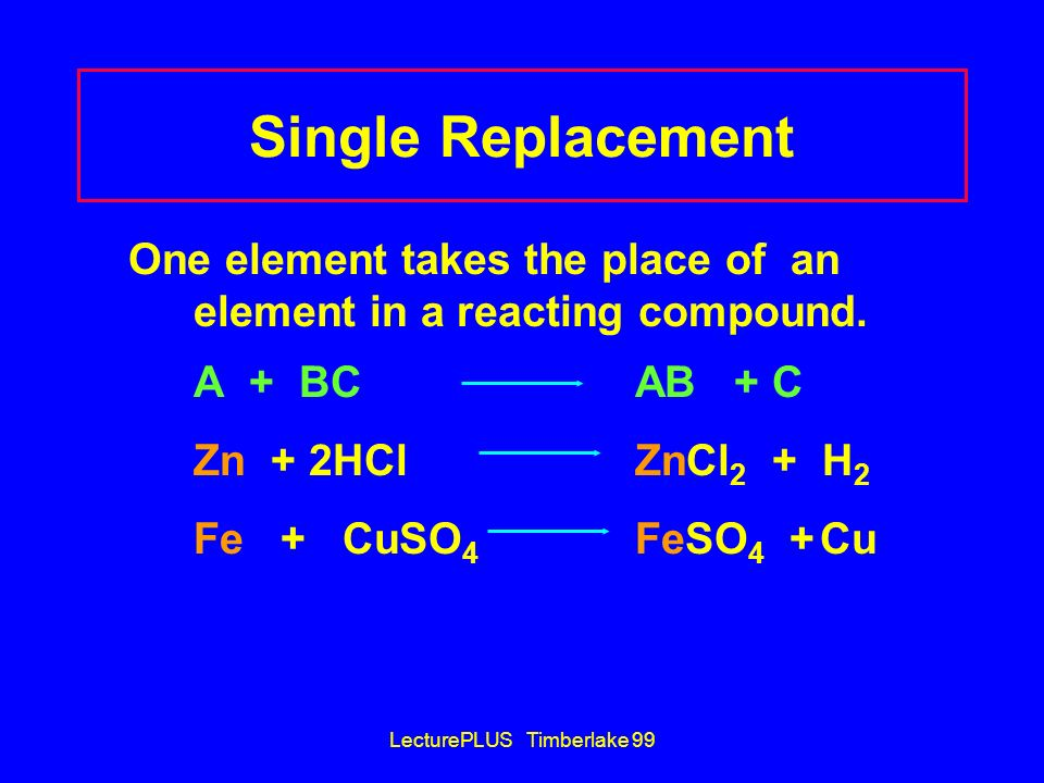 LecturePLUS Timberlake 99 Single Replacement One element takes the place of an element in a reacting compound. A + BC AB + C Zn + 2HCl ZnCl 2 + H 2 Fe