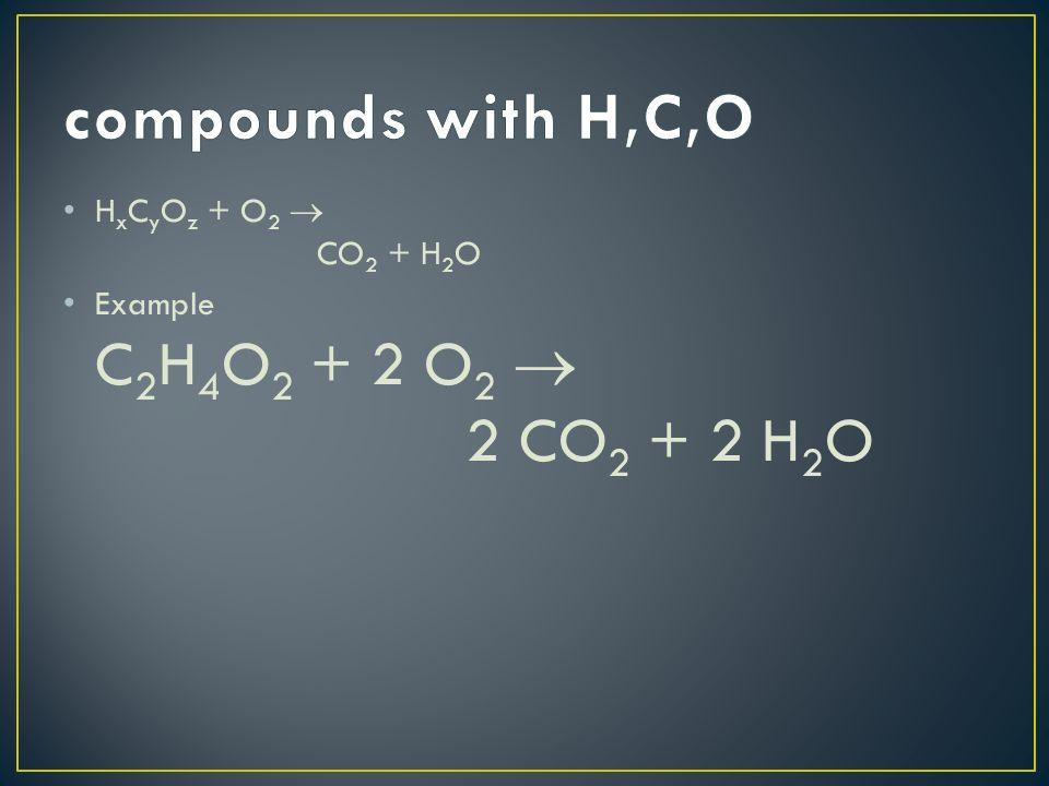 H x C y O z + O 2 CO 2 + H 2 O Example C 2 H 4 O 2 + 2 O 2 2 CO 2 + 2 H 2 O