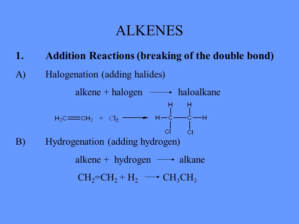ALKENES 1.Addition Reactions (breaking of the double bond) A)Halogenation (adding halides) alkene + halogen haloalkane B)Hydrogenation (adding hydroge