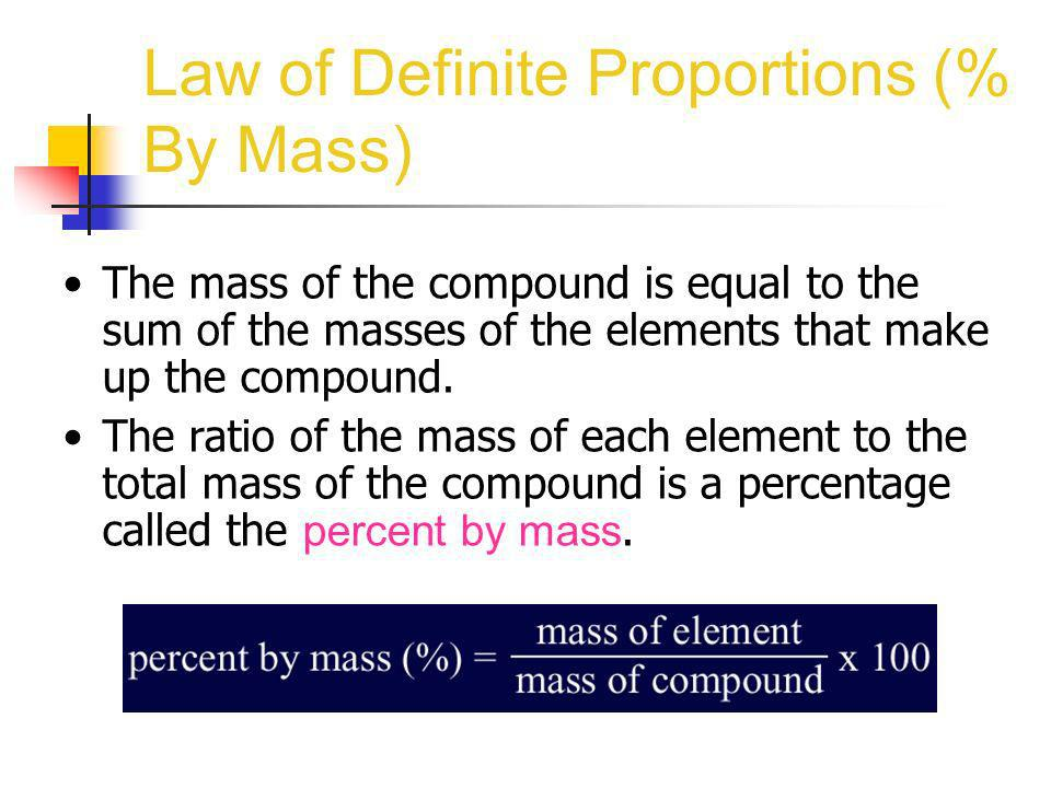 Law of Definite Proportions (% By Mass) The mass of the compound is equal to the sum of the masses of the elements that make up the compound. The rati