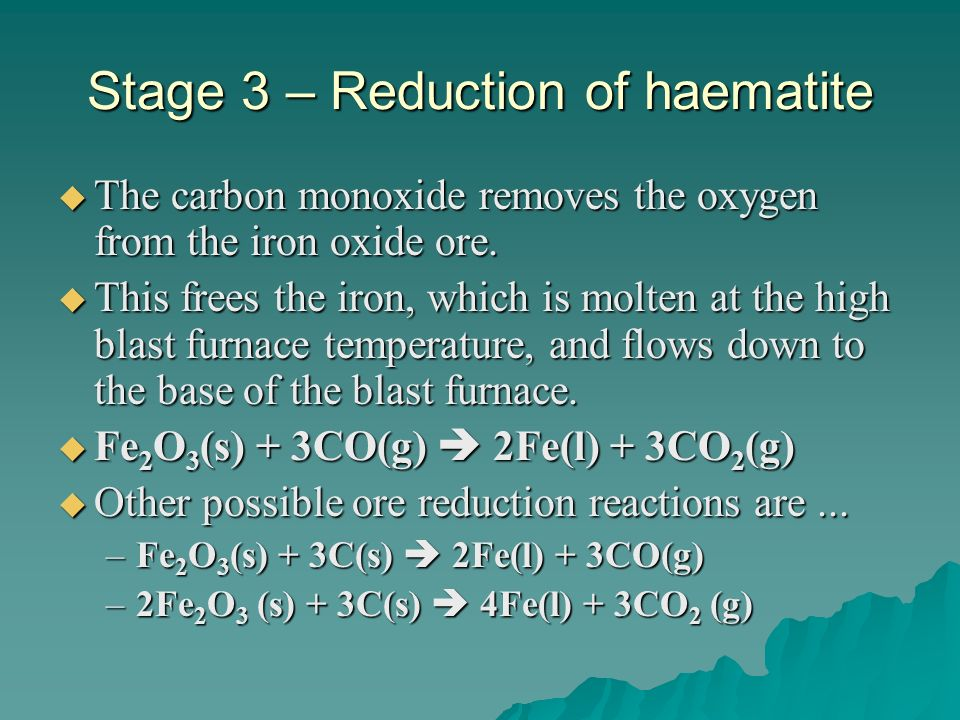 Stage 3 – Reduction of haematite The carbon monoxide removes the oxygen from the iron oxide ore. The carbon monoxide removes the oxygen from the iron