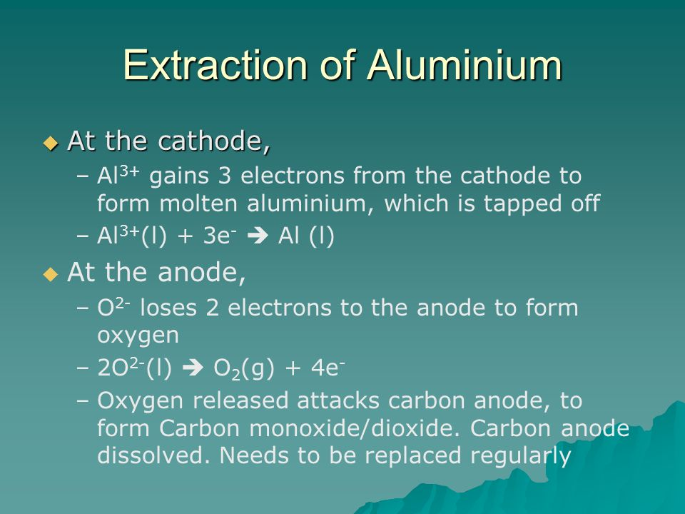 Extraction of Aluminium At the cathode, At the cathode, – –Al 3+ gains 3 electrons from the cathode to form molten aluminium, which is tapped off – –A