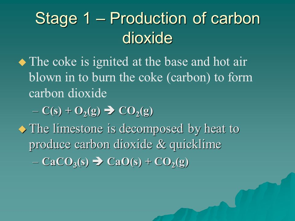 Stage 2 – Production of carbon monoxide At high temperature, the carbon dioxide formed reacts with more coke (carbon) to form carbon monoxide At high temperature, the carbon dioxide formed reacts with more coke (carbon) to form carbon monoxide –CO 2 (g) + C(s) 2CO(g)