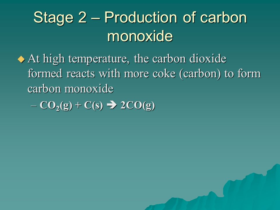 Stage 2 – Production of carbon monoxide At high temperature, the carbon dioxide formed reacts with more coke (carbon) to form carbon monoxide At high